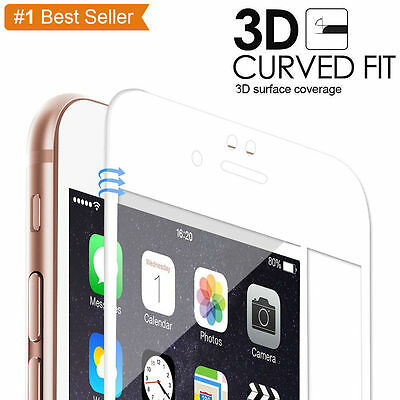 "White Full Cover Tempered Glass 3D Curved Screen Protector For iPhone 7 (4.7"")*"