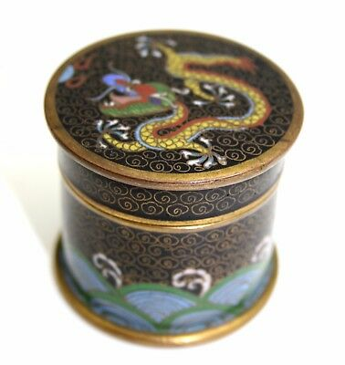 Miniature Chinese Cloisonne Opium Pot With Dragon On Top, Very Fine Quality