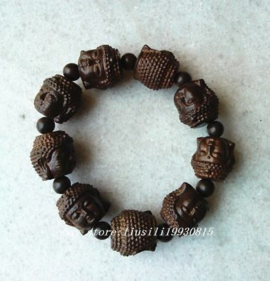 20MM chinese handcareved Natural Wood Bracelet with Buddha head Beads N00