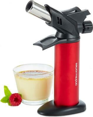 Andrew James Chefs Cooking Blowtorch Kitchen Butane Creme Brulee Tart Tool Red