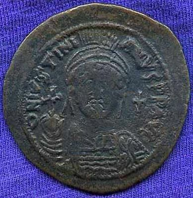 JUSTINIAN 1 (527 - 565 AD) Large 40mm AE Follis of Cyzicus 2nd Officina Lovely