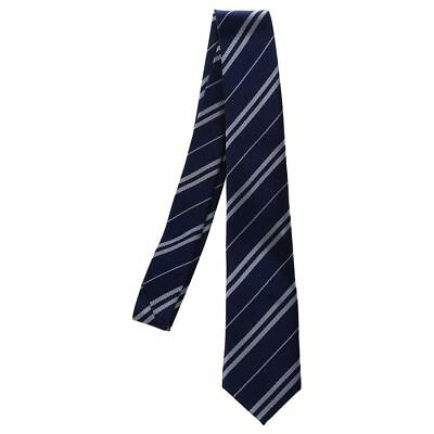 Mens Casual Slim Neck Tie Navy Blue w/ Silver Grey Stripes V8C4
