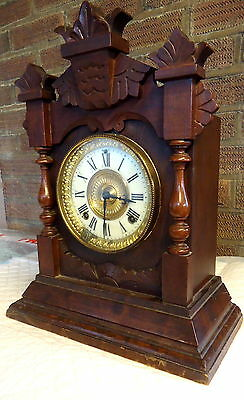 "VICTORIAN. ""Ansonia"" Oak Mantel Clock with Floral Carvings  c1881"