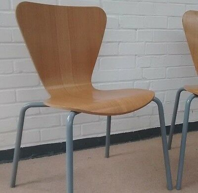 Job lot. Stacking, Danish design Oak Ply Dining Chairs. Vintage Retro Modern