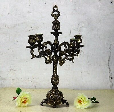 "Antique  Gorgeous Brass Ornate  Candle Holder Candelabra 5 arm Snuffer 17.32""H"