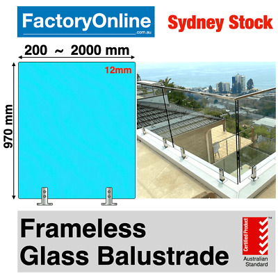 Glass Balustrade 12mm Clear Toughened Frameless Glass Fencing Spigots Clamp NEW
