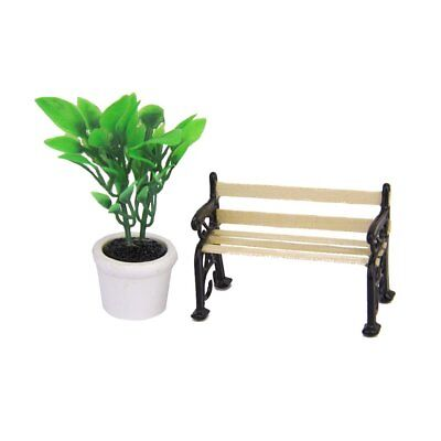 Green Plant in a Pot and Wooden Garden Bench Dollhouse Miniature Black Meta C0P3