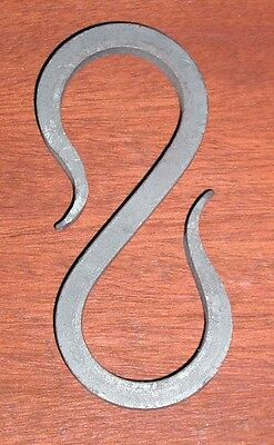 "Wrought Iron 3 1/8 in., 5/16"" square, S-Hook Hanger, Hand Forged by Blacksmiths"