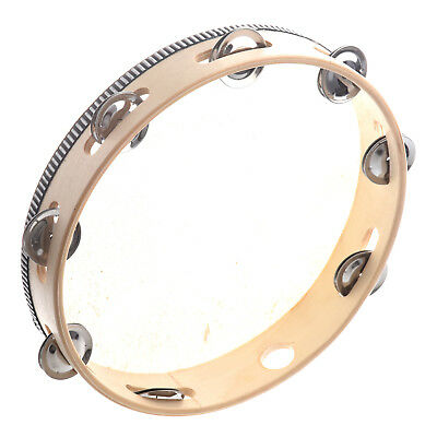"""10"""" Musical Tambourine Drum Round Percussion Gift for KTV Party F8N1"""