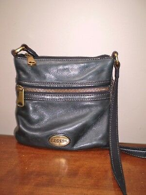 Authentic Fossil Cross Body Navy Blue Leather Handbag Excellent Condition