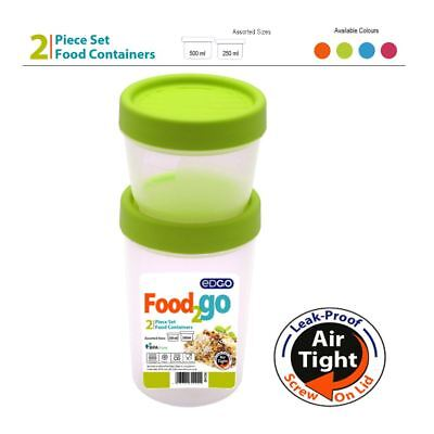 2pc 250ml 500ml BPA Free Food Container Airtight Leakproof Screw Lid Box Storage