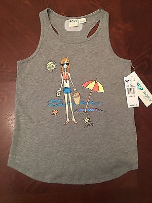 Nwt L 16 ROXY GIRL Gray Seashell Collector Beach Tank Top Shirt Youth New Girls