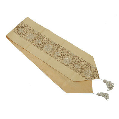 78 x 13 Inch Brocade Table Runner - Antique Gold D4A5