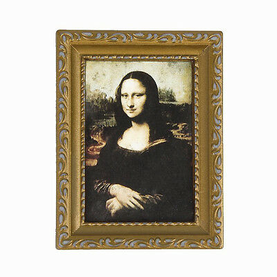"""Vintage Golden Framed Picture of Mona Lisa 1/12 Dollhouse 3.2"""" x 2.4"""" E7A0"""