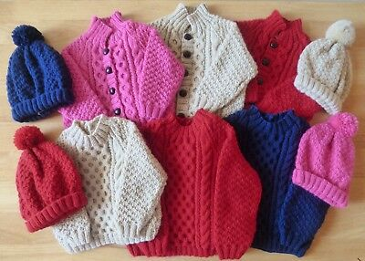 Baby Hand-Knitted Aran Design Jackets - Jumpers - Hats