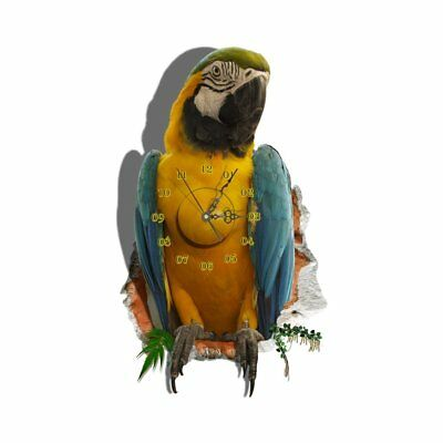 DIY 3D Art Wall Clock Decals Parrot Wall Hole Sticker Office Home Wall Deco D2O5