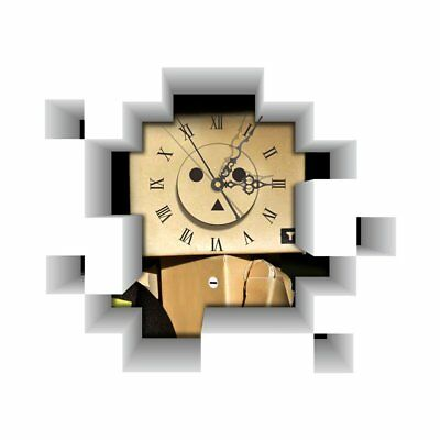 DIY 3D Art Wall Clock Decals Robot Blockhead Wall Hole Clock Sticker Office F8H2
