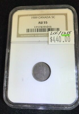 1909 Canada NGC Slab 5 Cents AU55 Pointed Holly Leaves