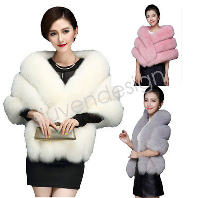 NEW Noble mink Bridal Wedding Faux Fur Long Shawl Stole Wrap Shrug Scarf Winter