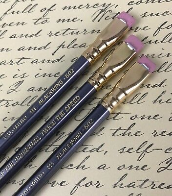 3 Palomino Blackwing 602 Pencils Pink Erasers Latest New Pencil Chuck Wilson