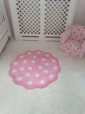 mothercare daisy Little Lane Cotton Large pink nursery Rug Flower 🌺 Polkadot