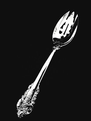 """Wallace Sterling Silver Grand Baroque Pierced Serving Spoon  8 3/4""""  MINT!"""