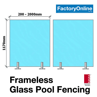 12mm Frameless Glass Pool Fencing Pool Fence Toughened Safety Glass Spigots NEW