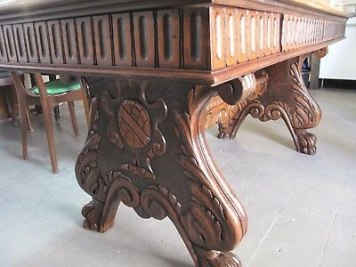 Antique Set Hand Made Medieval Gothic VICTORIAN HAND CARVED Sofa Chair Table