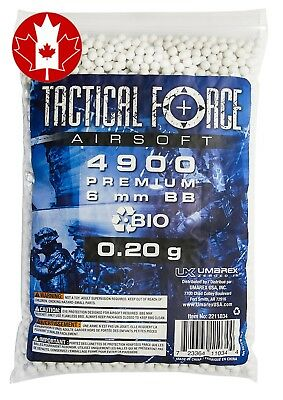 Tactical Force Bio Airsoft Precision BB, 0.20g/6mm, White - New Updated 2017