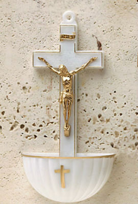 """White Holy Water Font with Crucifix 5.25"""" x 2.5"""" x 1.25"""" Plastic"""