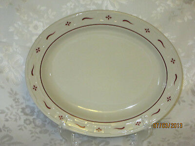 Longaberger Woven Trad Pottery Oval Serving Plate/Platter Traditional Red~USA!
