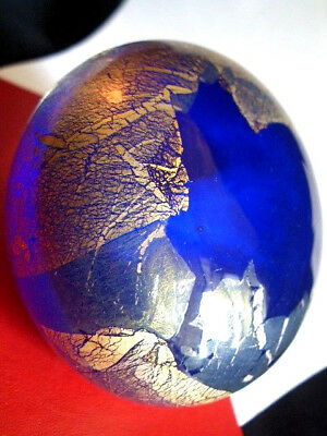 ISLE OF WIGHT HARRIS 1994 BLUE AZURENE GOLD LEAF PEBBLE PAPERWEIGHT - A1 +Label
