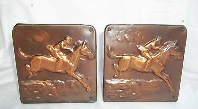 Antique Mission Arts & Crafts Steeplechase Copper Repousse Book Ends Bookends