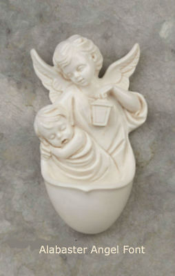 """Guardian Angel Alabaster Holy Water Font for Wall 6"""" x 4"""" x 2"""" Comes boxed"""