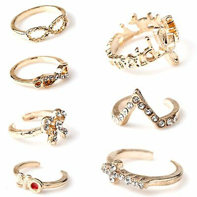1 Set 7pcs Womens New Bowknot Knuckle Finger Tip Stacking Rings X8F4