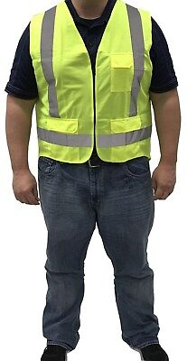Neon Yellow Safety Vest With Zipper Safety Yellow Polyester Washable Class 2