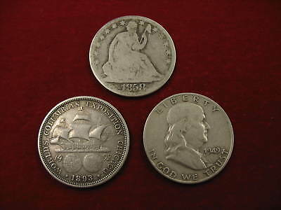 Lot of 3 U.S.Half Dollars,1858-O, 1893-Col Expo, 1949-D Franklin Circulated N/R