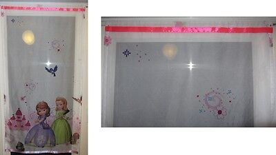 Luxury Disney Sofia The First Lace Net Voile Curtain with Slot Top Fit & Ribbons
