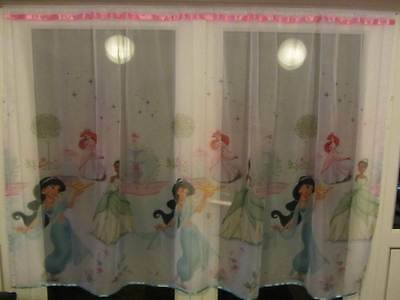 Luxury Disney Princess Lace Net Voile Curtain with Slot Top Fit & Ribbons