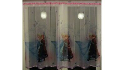 Luxury Disney Frozen Lace Net Voile Curtain with Slot Top Fit & Ribbons