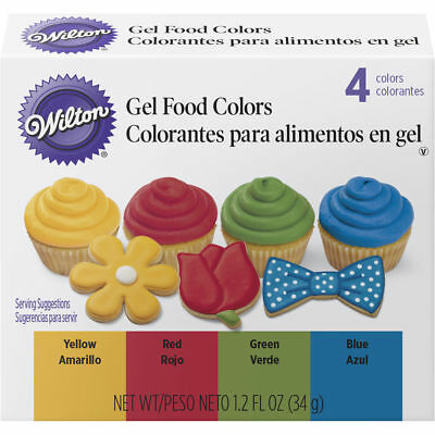 Wilton Primary Gel Food Colors Set 0.3 fl oz Bottles -Blue, Green, Red, Yellow