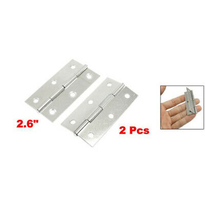 "New 2.6"" Silver Tone Polished Stainless Steel Home Door Butt Hinges Pair D7J6"