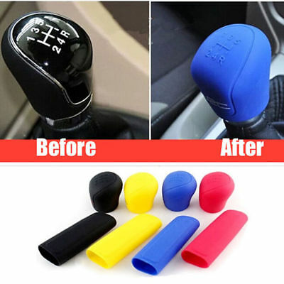 2Pcs Silicone Car Gear Head Shift Knob Handbrake Cover Non Slip Grip Handle Case