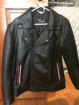 Mens Real Leather Motorcycle Biker Jacket Black Size S Small