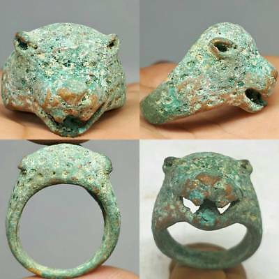 Rare Ancient Roman Bronze Ring With Lion HEad # A