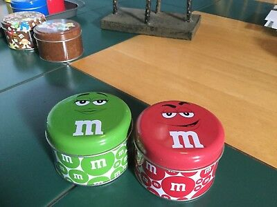 "M&m 2  tin can green and red  2"" tall x 3"""" wide new"