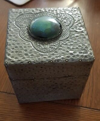 Antique box hammered pewter with enamel boss