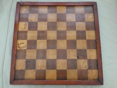 Antique Wooden Inlay Marquetry Chess Draught Board