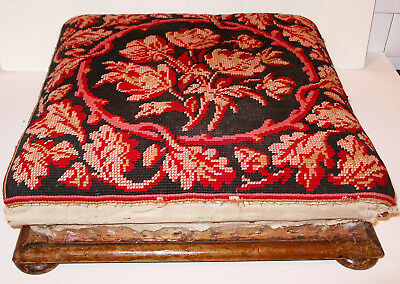 Antique Needlepoint Footstool Woolwork Embroidery Roses Vtg 19thC Stool to Trim