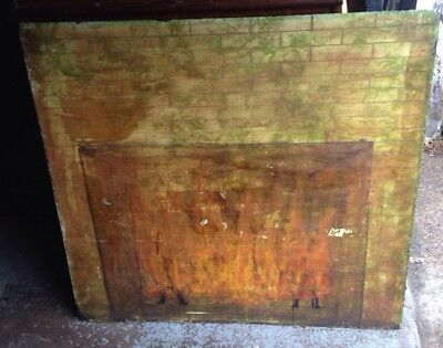 Painted PA Folk Art Antique Slate Fire Board Or Cover 19c
